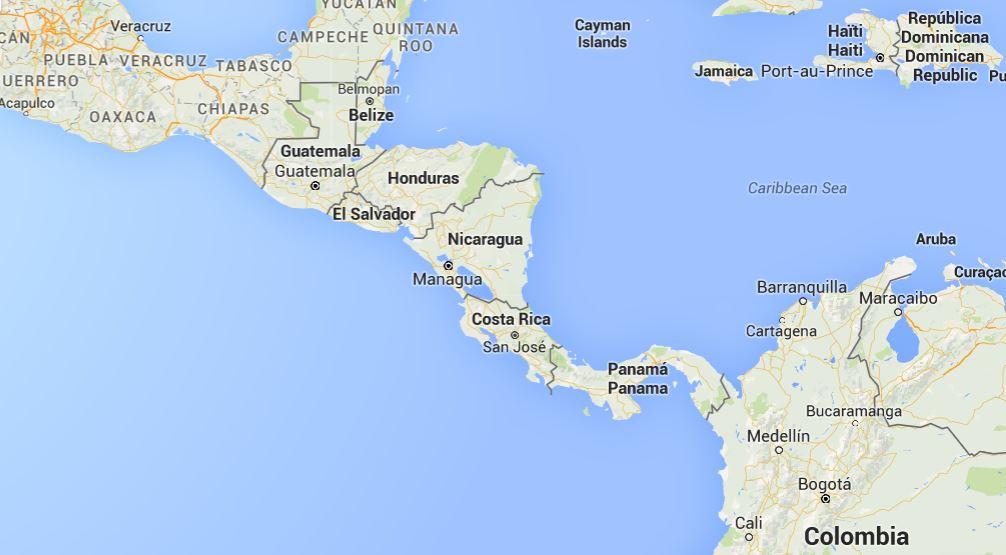 Landkarte Zentralamerika