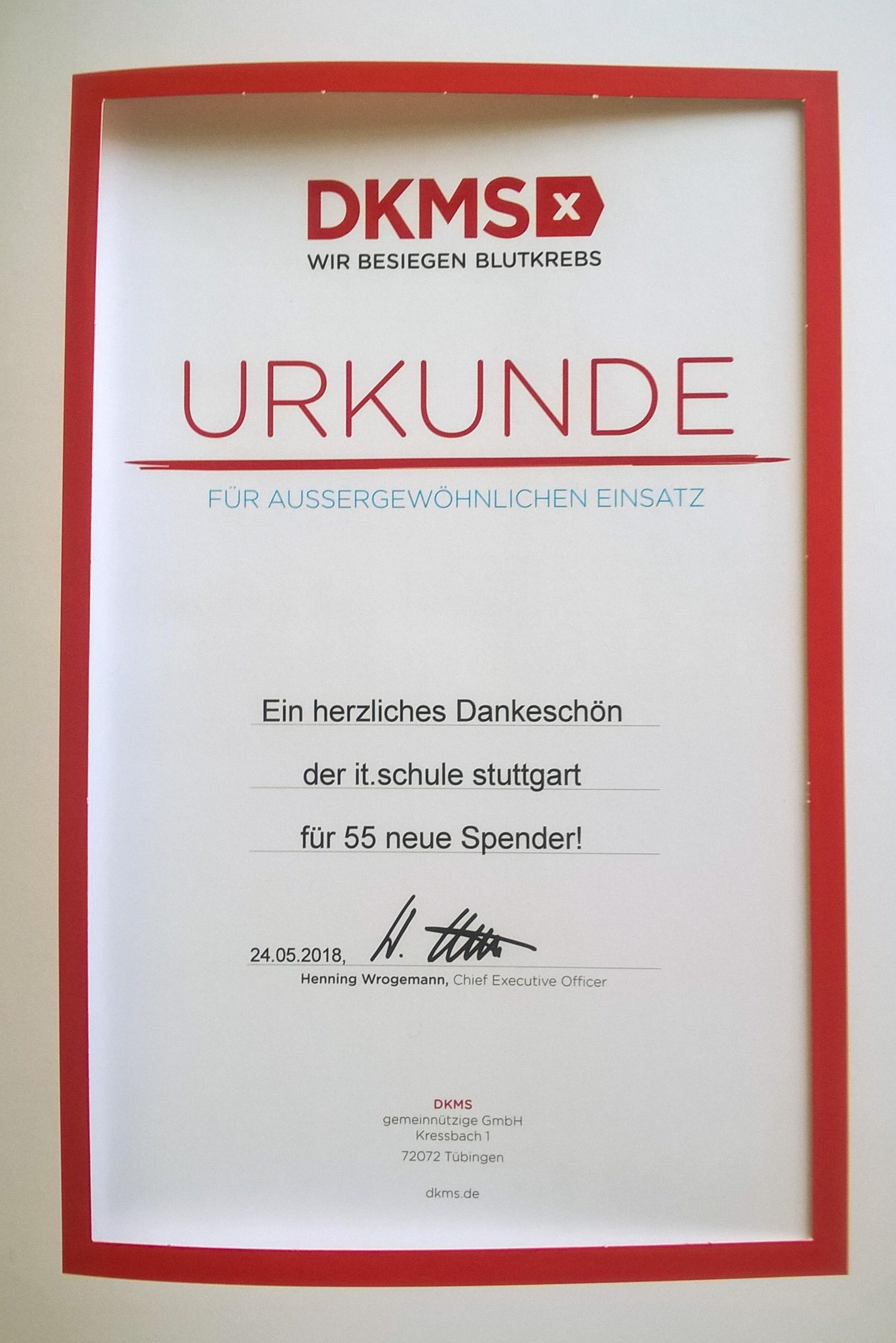 Urkunde der DKMS