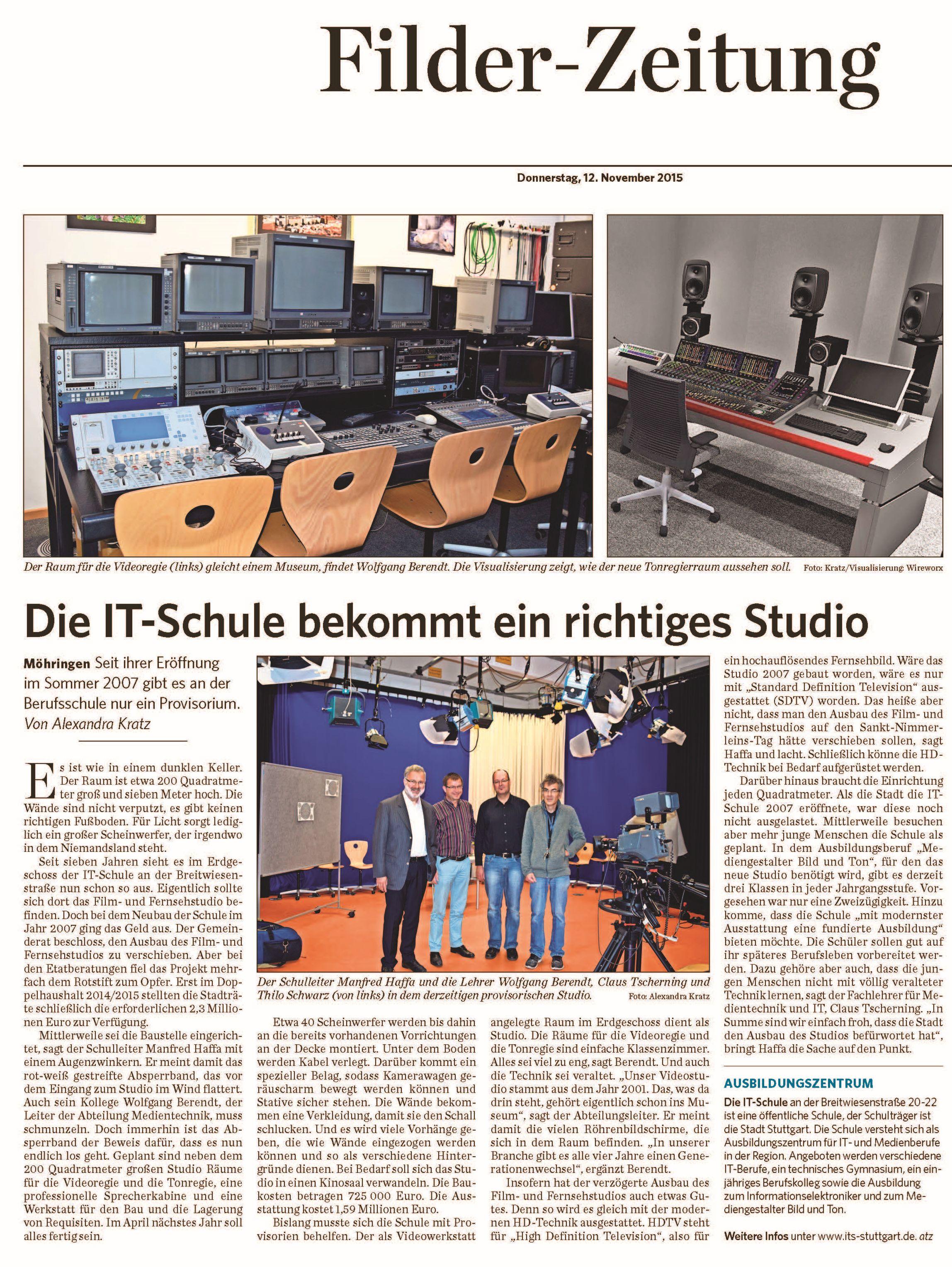 Artikel Filderzeitung Studioneubau
